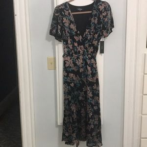 Lulus black velvet floral midi wrap dress